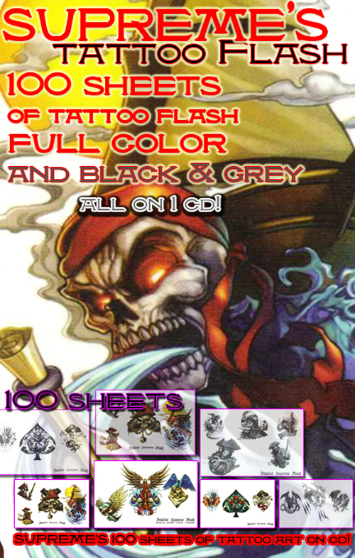 "Supreme's 100 sheets of tattoo flash on cd. All 11x17"" Sheets by top notch"
